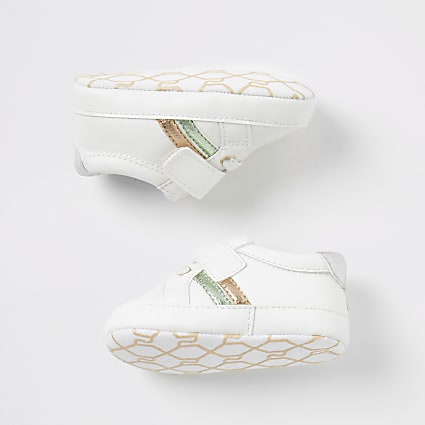 Baby white 'Best life' metallic trainers