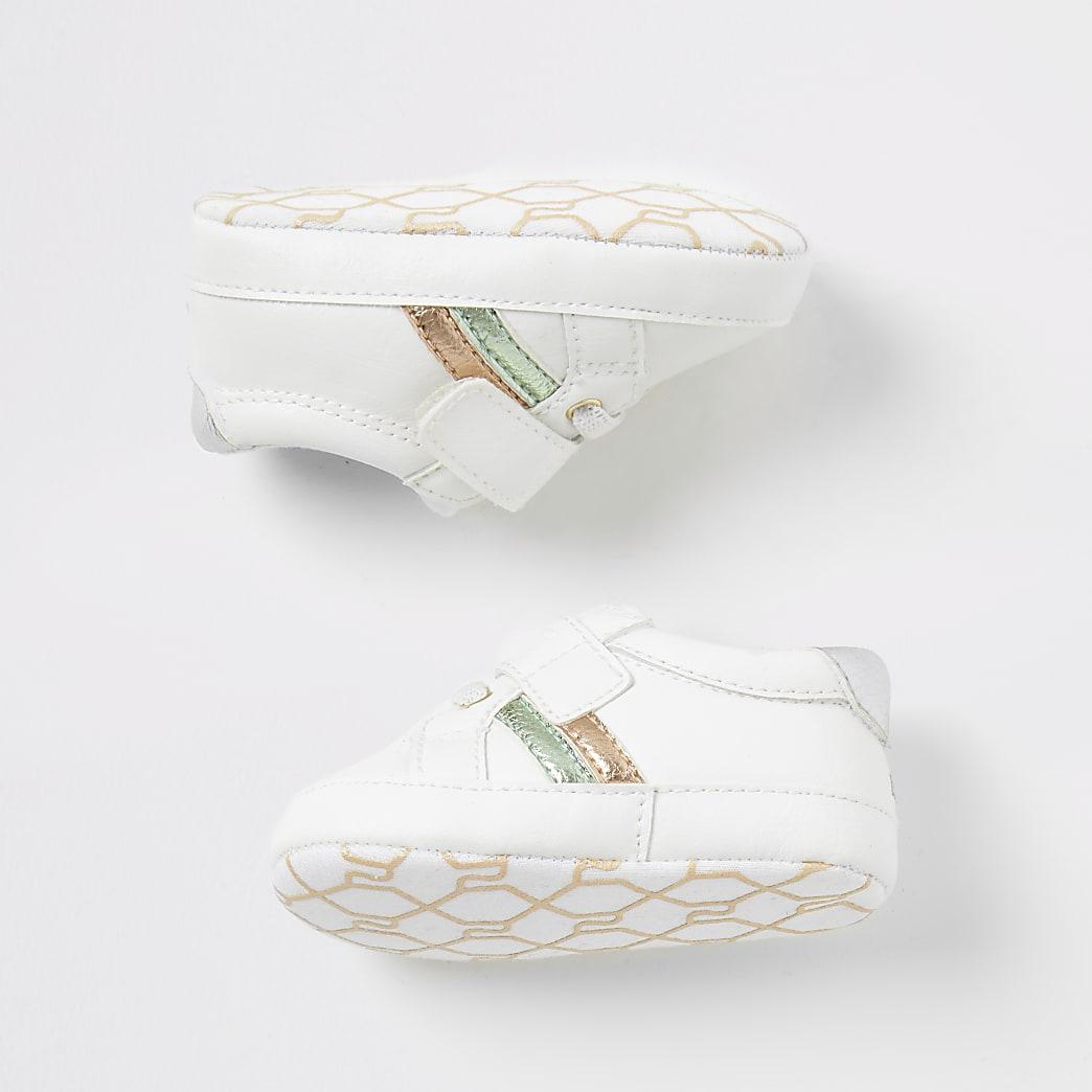 Wit metallic 'Best life' sneakers voor baby's