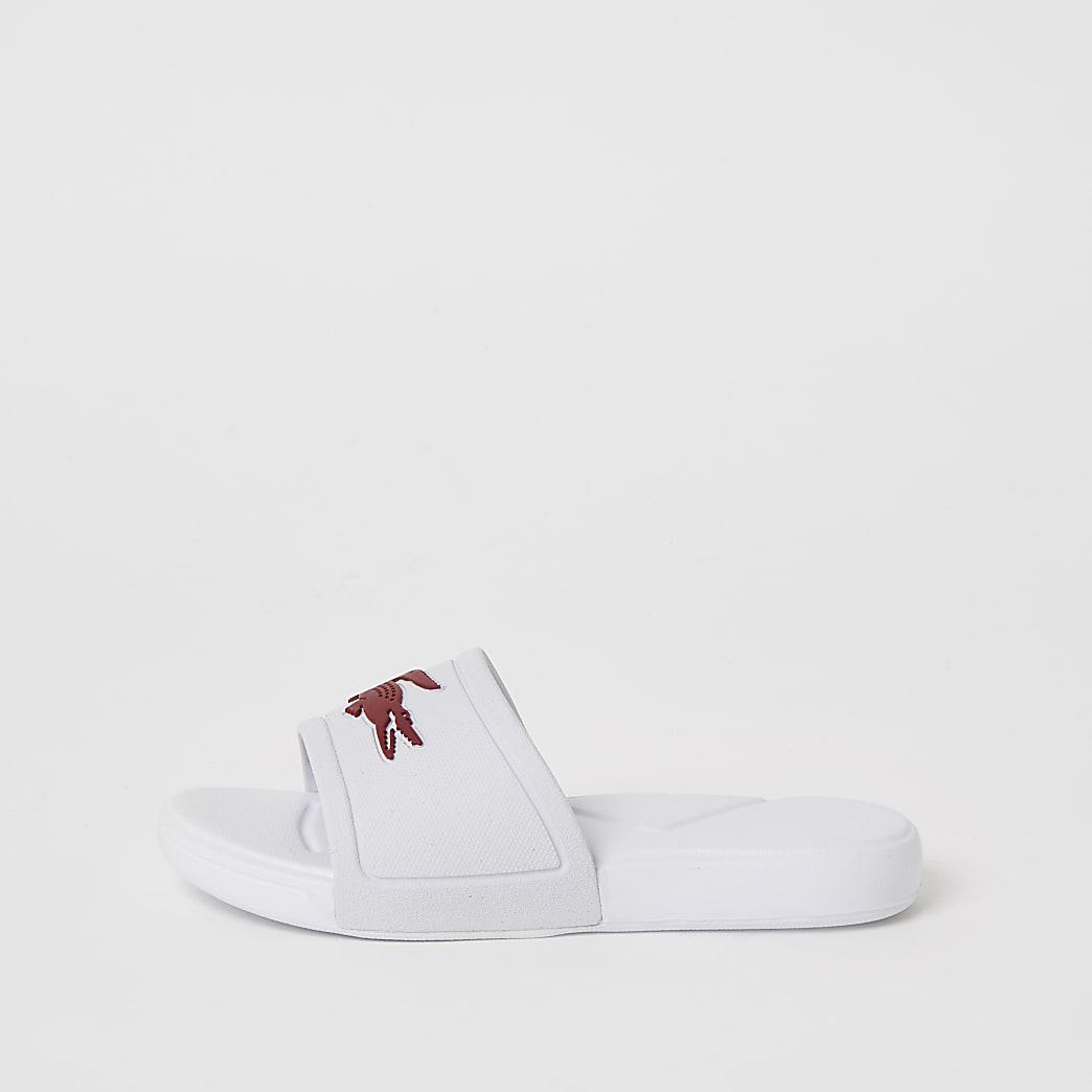 Lacoste- Witte slipper met logo voor meisjes