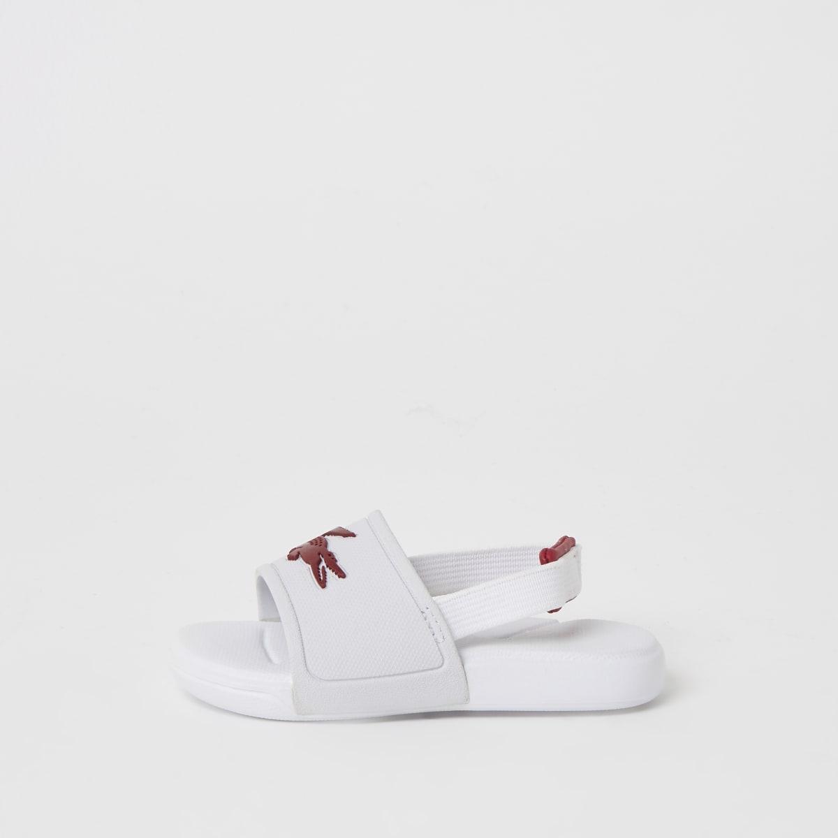 Lacoste - Witte slippers met logo voor mini-meisjes
