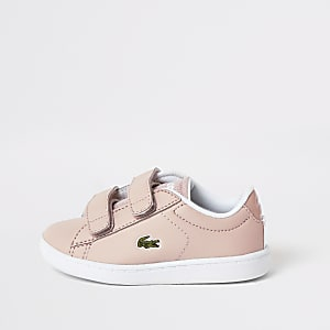 Mini girls Lacoste pink velcro trainers