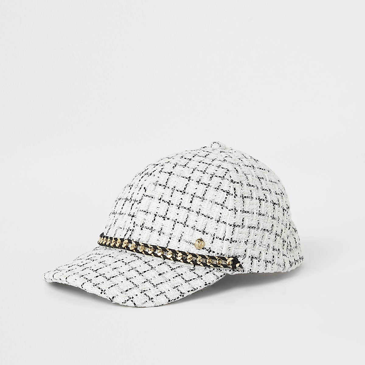 Girls white boucle chain front cap