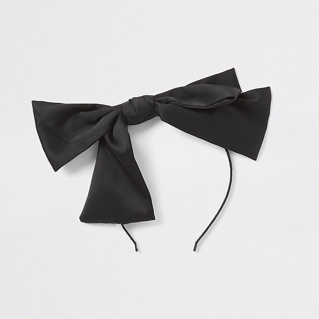 Girls black bow headband