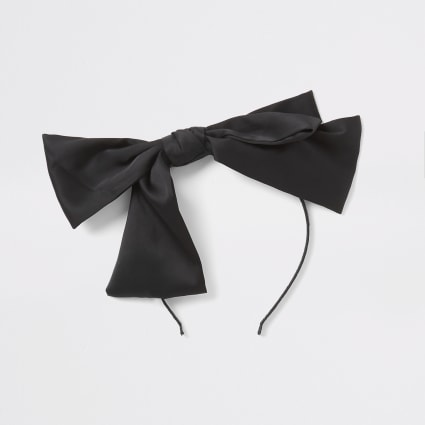 Girls black bow headband