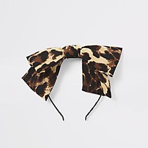 Serre-tête à nœud imprimé léopard marron pour fille