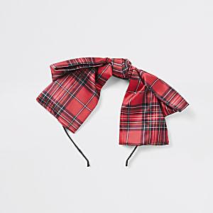 Serre-tête rouge tartanà nœud pour fille