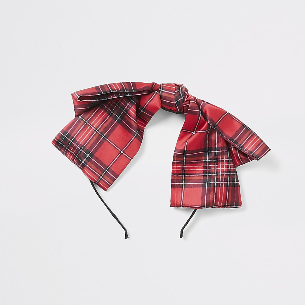 Girls red tartan bow headband