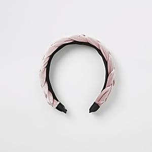 Serre-tête rose en velours tressépour fille