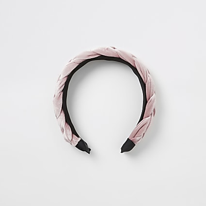 Girls pink velvet plaited headband