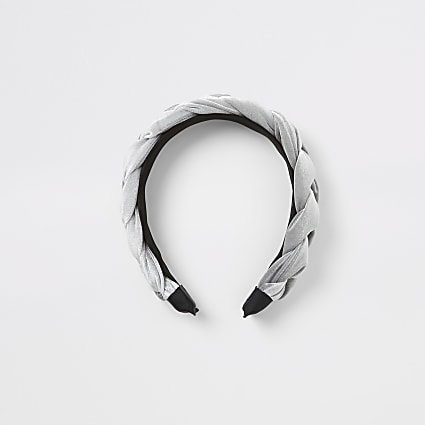 Girls silver velvet plaited headband