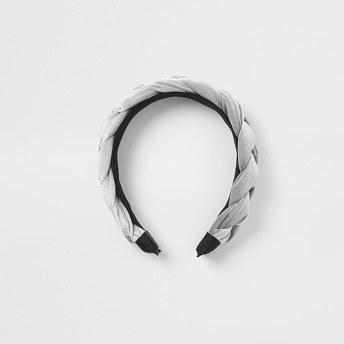Girls silver velvet plaited headband