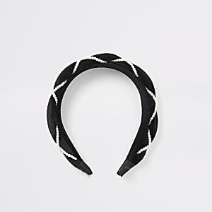 Geflochtener Samt-Haarreif in Schwarz mit Perlen für Mädchen
