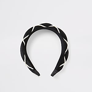 Serre-tête tressé en velours noir ornéde perles pour fille