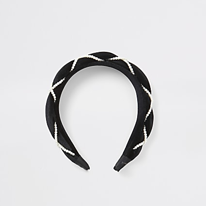 Girls black velvet pearl plaited headband
