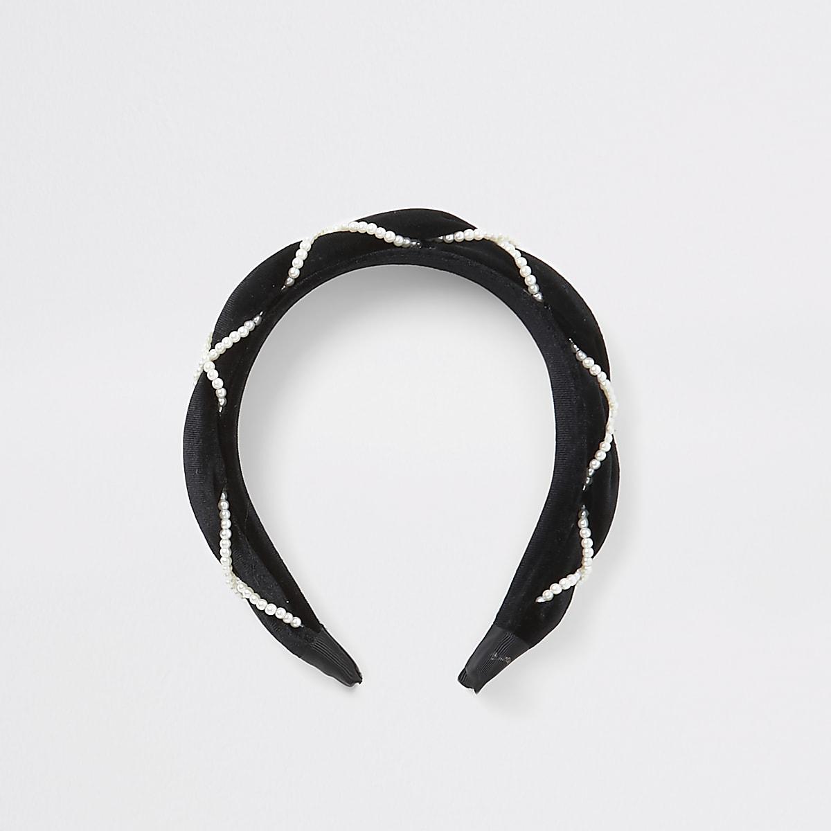Girls black velvet pearl plaited headband