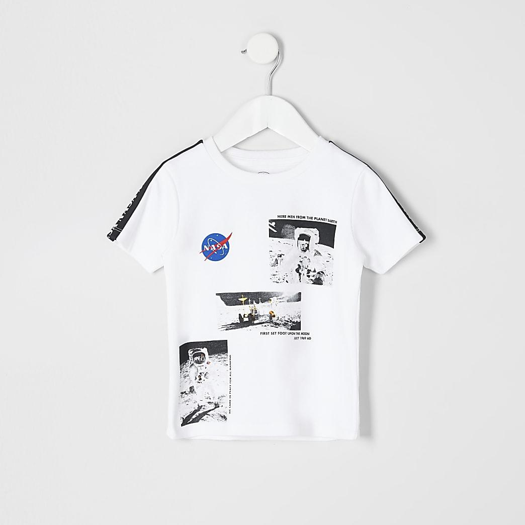 Mini boys white 'Nasa' printed T-shirt