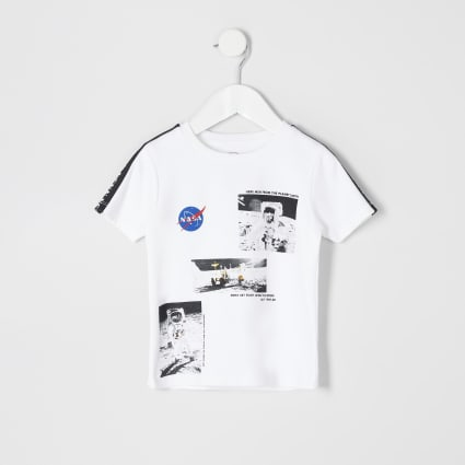 Mini boys white 'Nasa' printed T-shirt