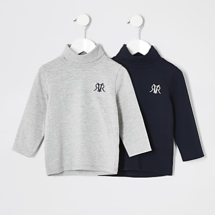 Mini boys navy and grey roll neck top 2 pack