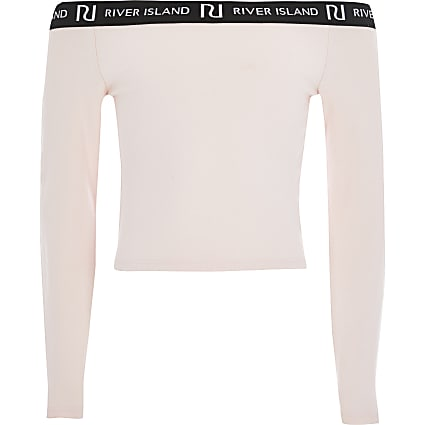 Girls pink long sleeve bardot top