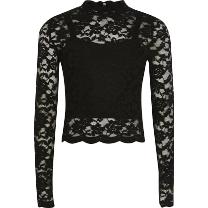 Girls black lace long sleeve high neck top