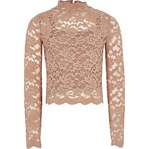 Roze hoogsluitende top met kanten en lange mouwen voor meisjes