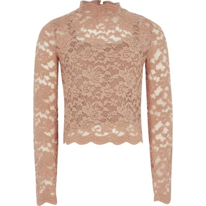 Girls pink lace long sleeve high neck top