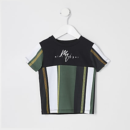 Mini boys black blocked stripe T-shirt