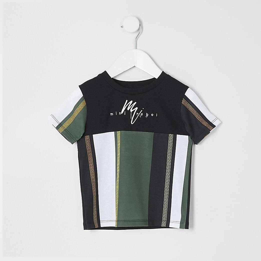 Mini boys black blocked stripe T-shirt