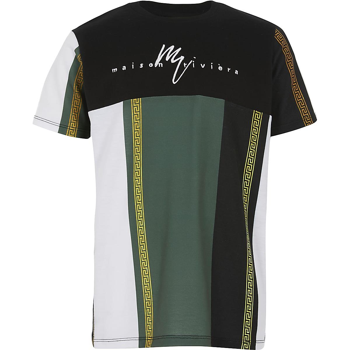 Boys black blocked stripe T-shirt