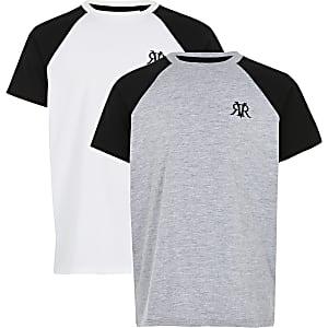 Set van 2 witte en grijze raglan T-shirts met RVR-logo voor jongens