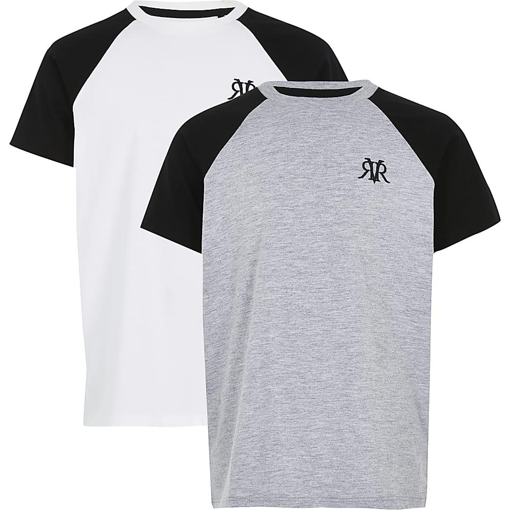 Boys white and grey RVR raglan T-shirt 2 pack