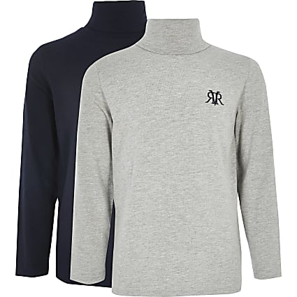 Boys navy and grey RI roll neck top 2 pack