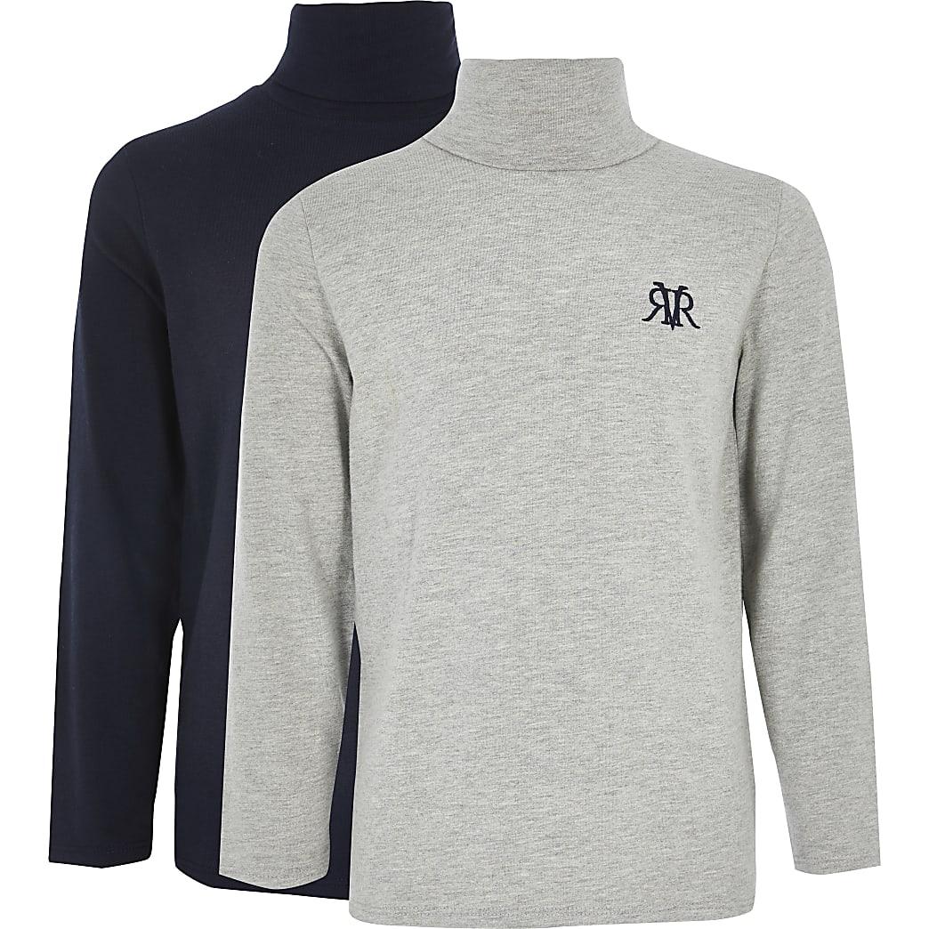 Marineblaues und graues RI-Oberteil mit Rollkragen für Jungen im 2er-Pack