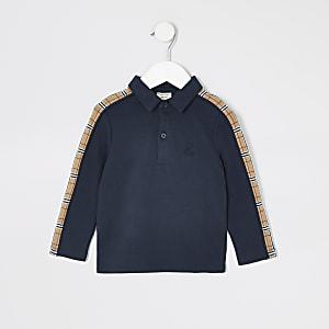 Polo bleu marineà manches longues avec bandes latérales Mini garçon