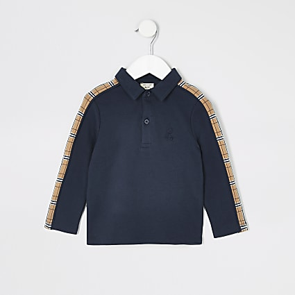 Mini boys navy tape long sleeve polo shirt