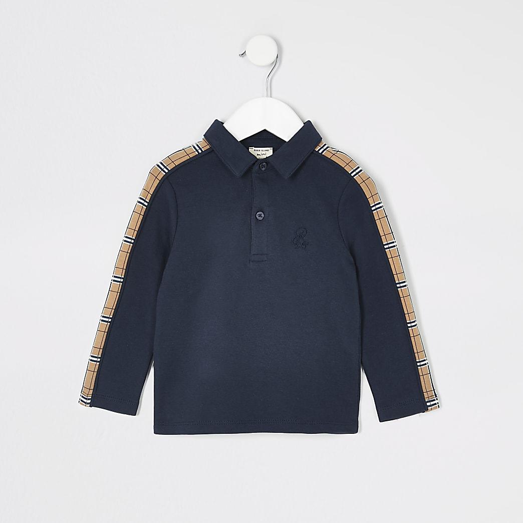 Mini boys navy tape long sleeve polo shirt