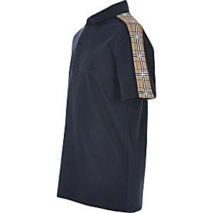 Polo bleu marine à manches courtes avec bandesà carreaux pour garçon