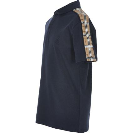 Boys navy check tape short sleeve polo shirt