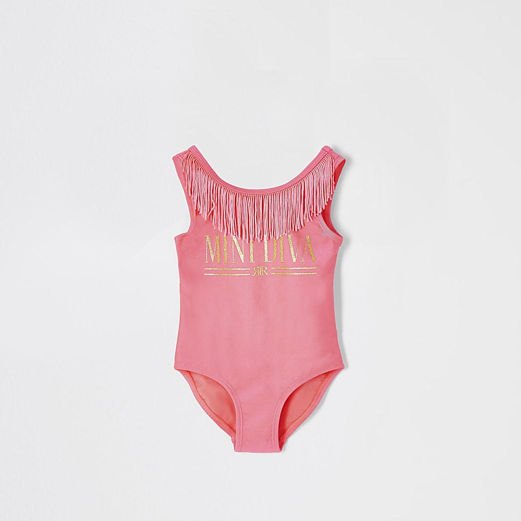 Mini girls neon pink 'Mini diva' swimsuit