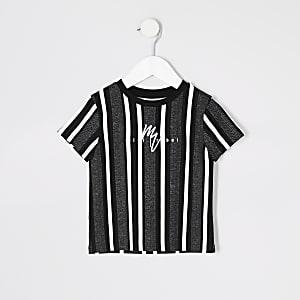 Mini - Zwart gestreept T-shirt met visgraatmotief voor jongens