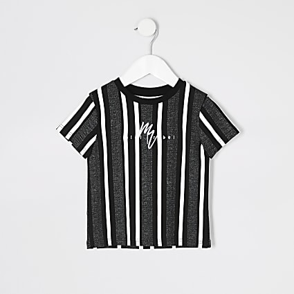 Mini boys black herringbone stripe T-shirt