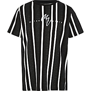 Boys black herringbone stripe T-shirt