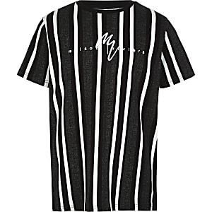 Schwarzes T-Shirt mit Fischgrätenmuster und Streifen für Jungen