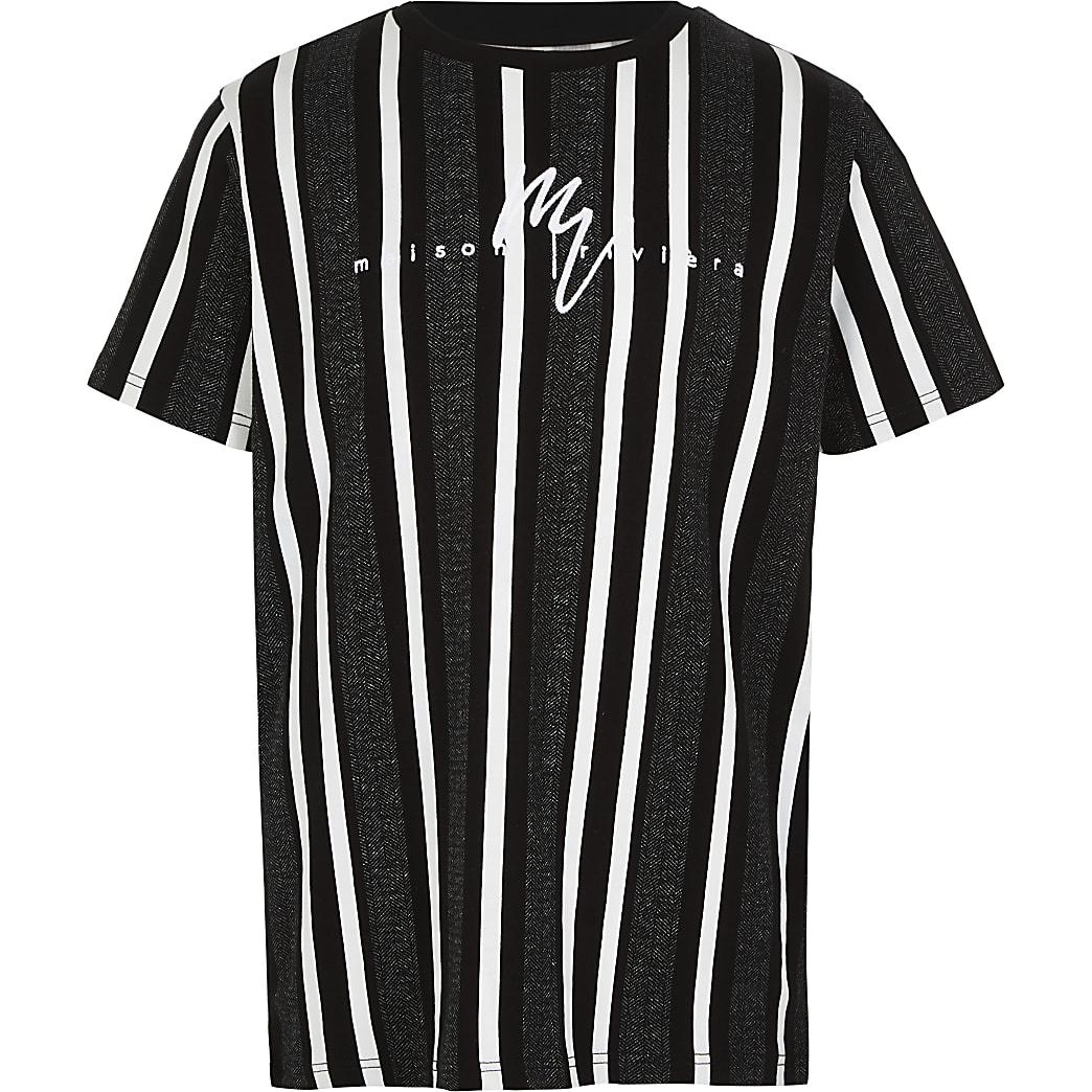 Boys black herringbone stripe T-shirt