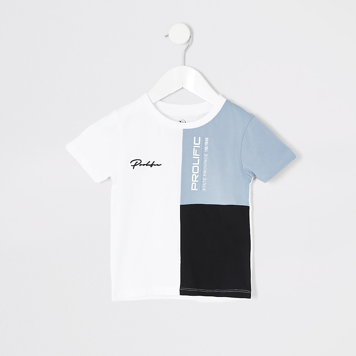 Mini boys blue block 'Prolific' T-shirt