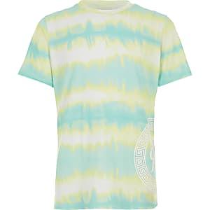 Turquoise tie-dye T-shirt voor jongens