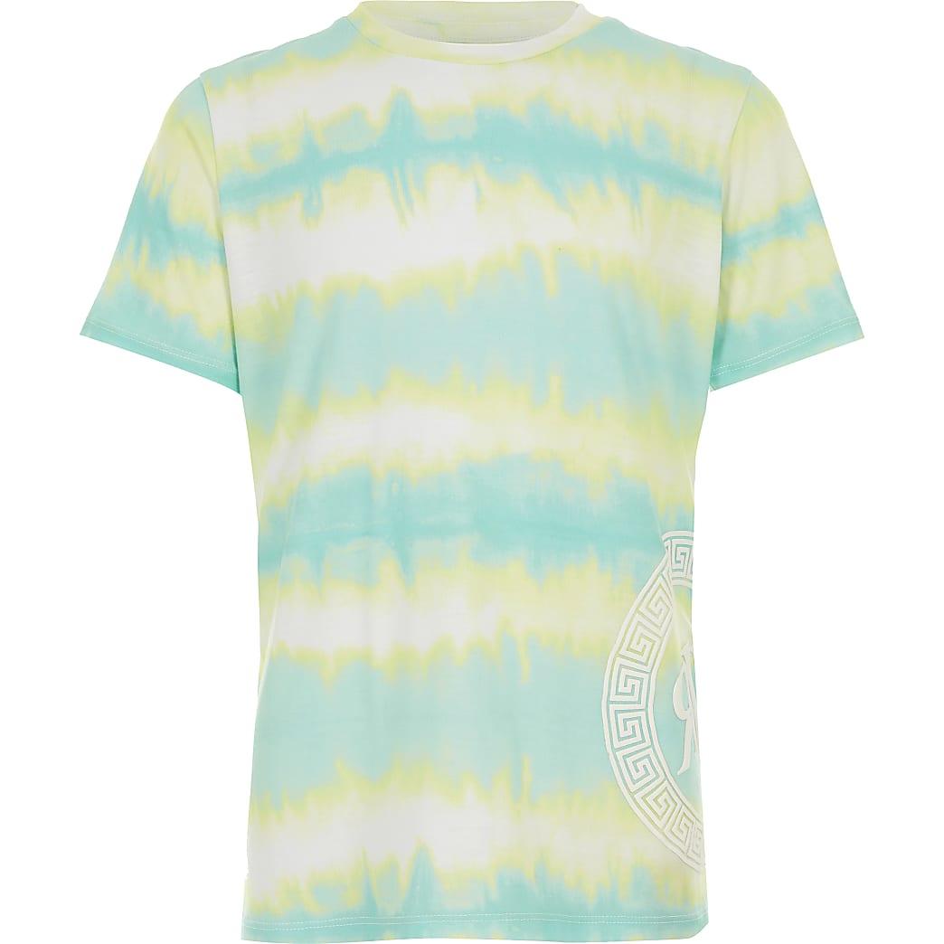 T-shirt turquoise effet tie and dye pour garçon