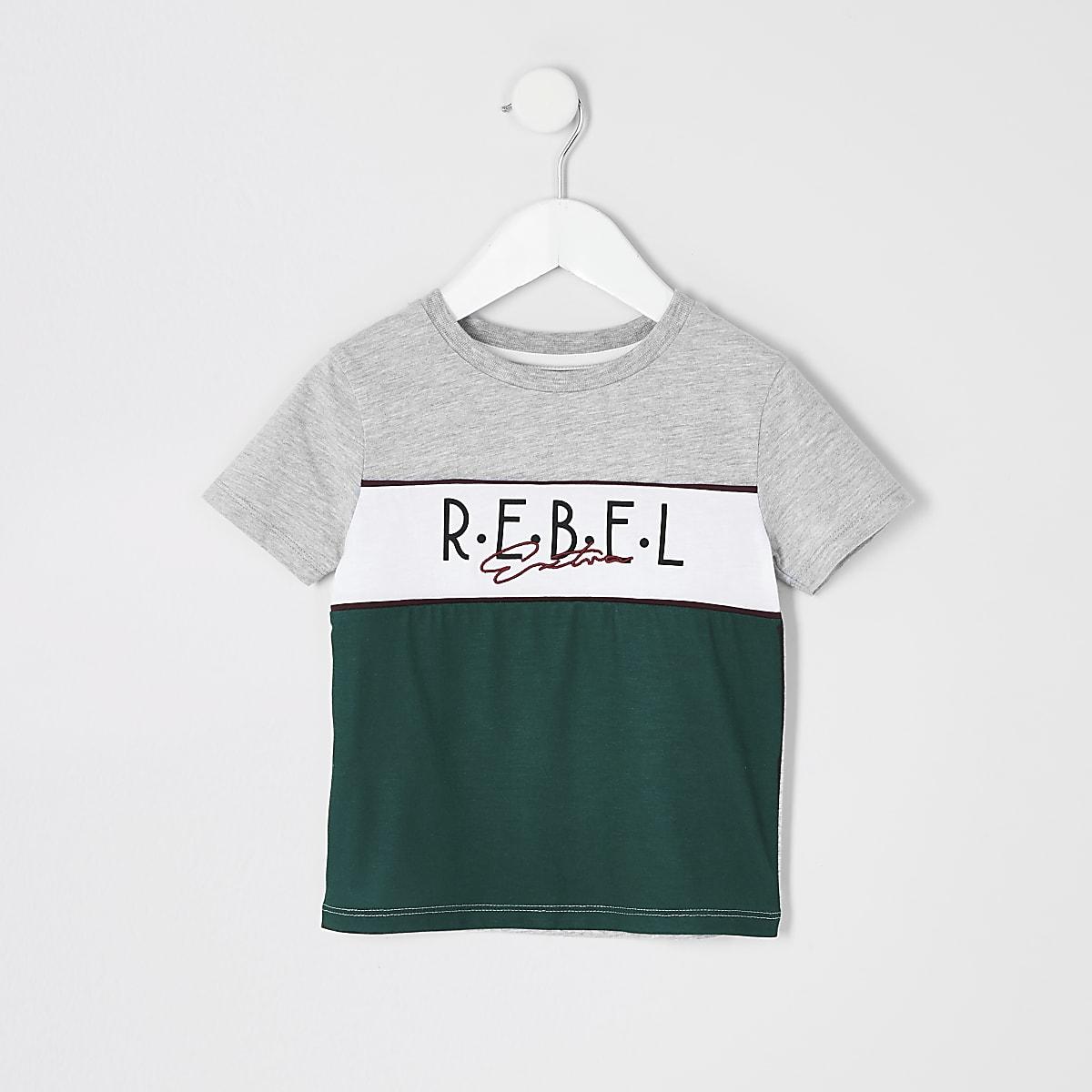 Mini boys grey 'Rebel' colour block T-shirt