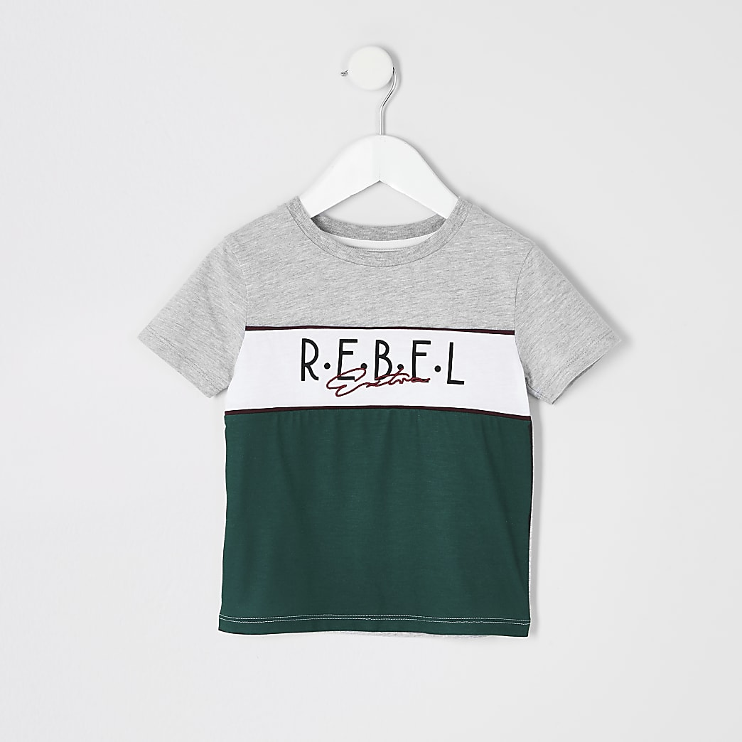 Mini boys grey 'Rebel' colour block T-shirt