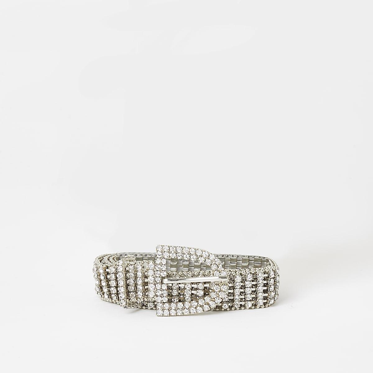 Girls silver diamante paved belt